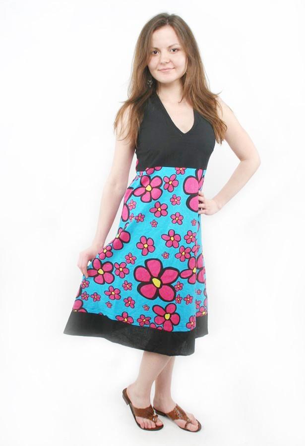 длинное яркое платье на лето